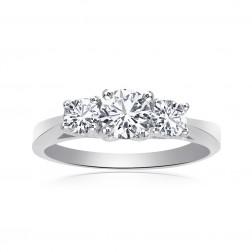 0.75 Carat Round Cut Diamond Three Stone Engagement Ring 14K White Gold