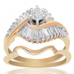 1.00 Carat H-SI1 Natural Round Cut Diamond Engagement Bridal Set 14K Yellow Gold