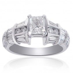 1.90 Carat F-I1 Natural Princess Cut Diamond Engagement Ring 14k White Gold