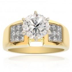2.45 Carat H-VS2 Natural Round Cut Diamond Engagement Ring 18K Yellow Gold