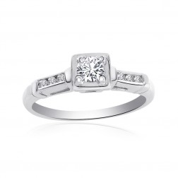 0.30 Carat Round Cut Diamond Engagement Vintage Ring 14K White Gold