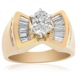 1.25 Carat Oval Shape Diamond Vintage Style Engagement Ring 14K Yellow Gold