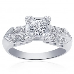 0.45 Carat Round Cut Diamond Antique Style Engagement Ring 14K White Gold