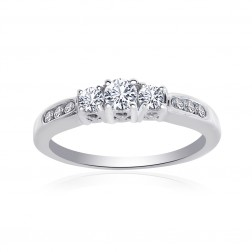 0.50 Carat Round Cut Diamond Engraved Engagement Ring 14K White Gold
