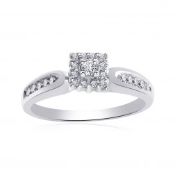 0.25 Carat Round Cut Diamond Vintage Engagement Ring 10K White Gold