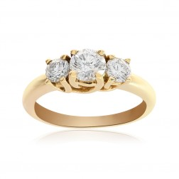 1.00 Carat Round Cut Diamond Three Stone Engagement Ring 14K Yellow Gold