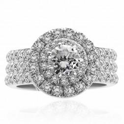 1.72 Carat H-SI1 Natural Round Diamond Engagement Three Ring Set 18K White Gold