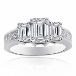 4.11 Carat Diamond Three Stone Engagement Ring 14K White Gold