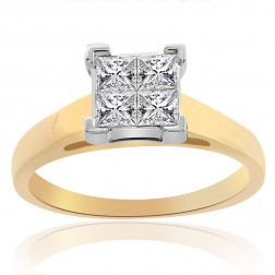0.65 Carat H-SI1 Natural Princess Cut Diamond Engagement Ring 14K Two Tone Gold
