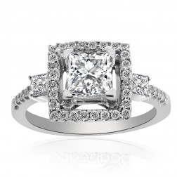 1.57 Carat G-VS2 Princess Cut Diamond Halo Engagement Ring 14K White Gold