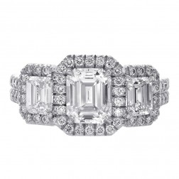 2.54 Carat Three Stone Micro Pave Emerald Cut Diamond Engagement Ring Platinum