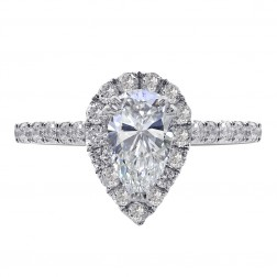 1.36 Carat Pear Shape Diamond Halo Engagement Ring 14K White Gold