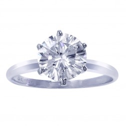 2.00 Carat GIA Certified Round Diamond Solitaire Engagement Ring 14K White Gold