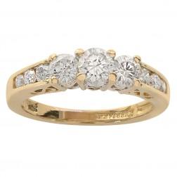 0.85 Carat Round Cut Diamond Engagement Ring 14K Yellow Gold