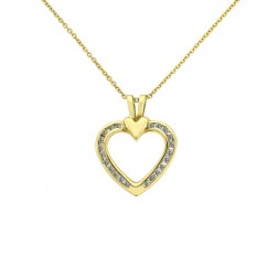 0.45 Carat Round Cut Diamond Heart Shaped Pendant 14K Yellow Gold