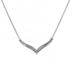 0.30 Carat Diamond V-Shape 10K White Gold Pendant With 14K White Gold Chain
