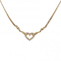 0.45 Carat Diamond Heart Shape Pendant Necklace 14K Yellow Gold