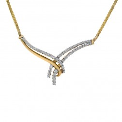 0.65 Carat Round Cut Diamond Bow Necklace 14K Yellow Gold