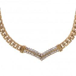 1.00 Carat Round Brilliant Cut Diamond V Necklace 14K Yellow Gold