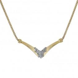 0.20 Carat Round Diamond Cluster Bismarck Link Necklace 14K Yellow Gold