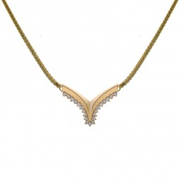0.21 Carat Round Cut Diamond V Necklace Curb Link 14K Yellow Gold