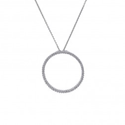 0.95 Carat Round Diamond Circle of Love Pendant on Rolo Link Chain 14K White Gold