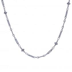 "0.12 Carat Diamond Fancy Oval Loop Link 16"" Chain 14K White Gold"