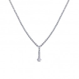 3.00 Carat Round Cut Diamond Tennis Y Necklace 14K White Gold