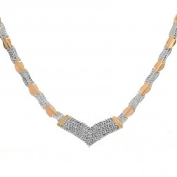 1.70 Carat Round Cut Diamond V Shaped Necklace 14K Two Tone Gold