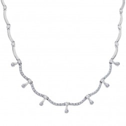 1.50 Carat Round Cut Diamond Dangle Curved Link Necklace 14K White Gold