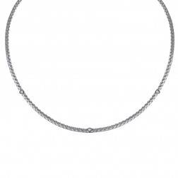 0.20 Carat Diamond Braided Cable Chain 14K White Gold Necklace