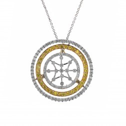 2.00 Carat Fancy Yellow & White Round Diamond Triple Circle Pendant on Cable Chain 14K Two Tone Gold