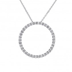 0.75 Carat Round Diamond Circle Of Love Pendant on Cable Chain 10K White Gold