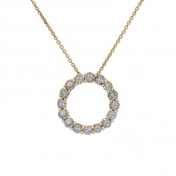 1.75 Carat Round Diamond Circle Of Love Pendant on Cable Link Chain 14K Yellow Gold