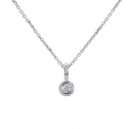 0.10 Carat Bezel Set Round Diamond Pendant on Cable Link Chain 14K White Gold
