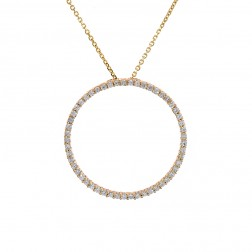 0.65 Carat Round Diamond Circle Of Love Pendant on Cable Link Chain 14K Yellow Gold