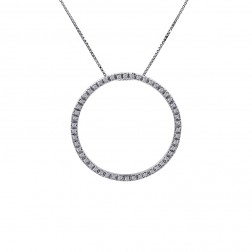 0.45 Carat Round Diamond Circle Of Love Pendant on Cable Link Chain 14K White Gold