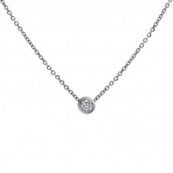 0.35 Carat Round Diamond Bezel Slider Pendant on Cable Link Chain 14K White Gold
