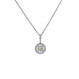 1.20 Carat Diamond Pendant 18K White Gold On 14K White Gold Cable Chain