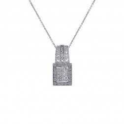 0.75 Carat Round & Princess Diamond Pendant on Cable Link Chain 14K White Gold