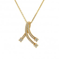 0.95 Carat Round Diamond Slider Pendant on Cable Link Chain 14K Yellow Gold