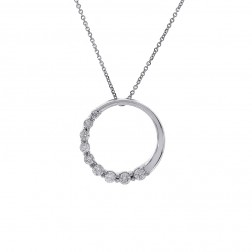 "1.00 Carat Round Diamond Journey Circle Pendant on 18"" Chain 14K White Gold"