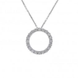 "1.00 Carat Round Brilliant Diamond Circle of Love Pendant in 16"" Chain 14K White Gold"