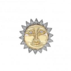 0.50 Carat Diamond Vintage Sun Pendant Charm 14K Two Tone Gold