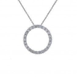 1.20 Carat Round Diamond Circle Of Love Pendant on Cable Link Chain 14K White Gold