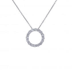 1.50 Carat Round Diamond Circle Of Love Pendant on Cable Link Chain 14K White Gold