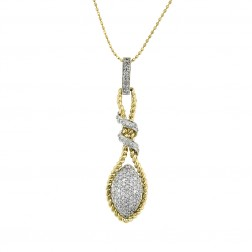 0.30 Ct Diamond Pendant 14K Two Tone Gold With Ball On Link Chain 14K Yellow Gold