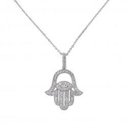 0.65 Carat Round Diamond Hamsa Hand of God Pendant Necklace 14K White Gold