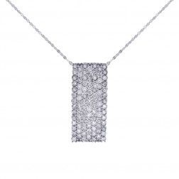 2.50 Carat Round Cut Diamond Slider Pendant Cable Link Chain 10K White Gold