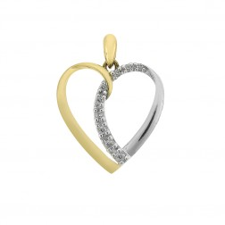 0.10 Carat Round Cut Diamond Heart Shaped Pendant 10K Two Tone Gold